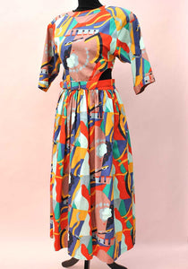 1980s parigi abstract colour dress