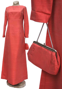Vintage 60s Coral Raw Silk Cocktail Gown • Bridesmaid Dress with Purse
