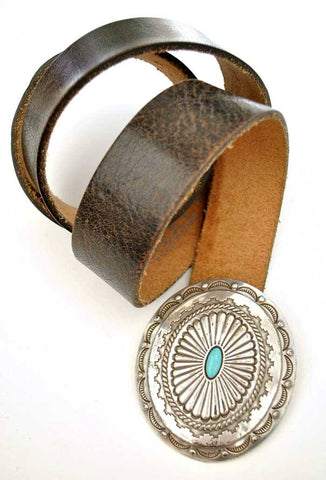 silver and faux turquoise cowgirl concho belt