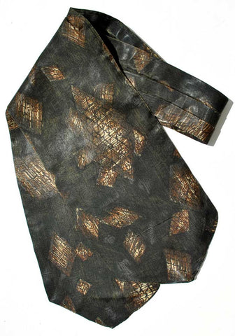 1950s Vintage Brown and Black Midcentury Cravat