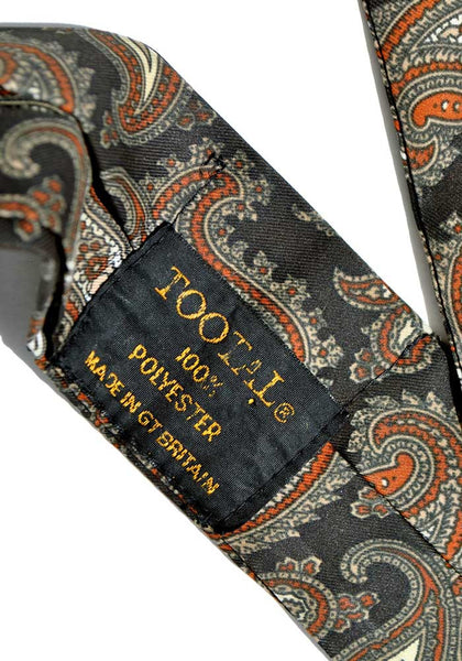 1950s Vintage Black & Orange Paisley Tootal Cravat