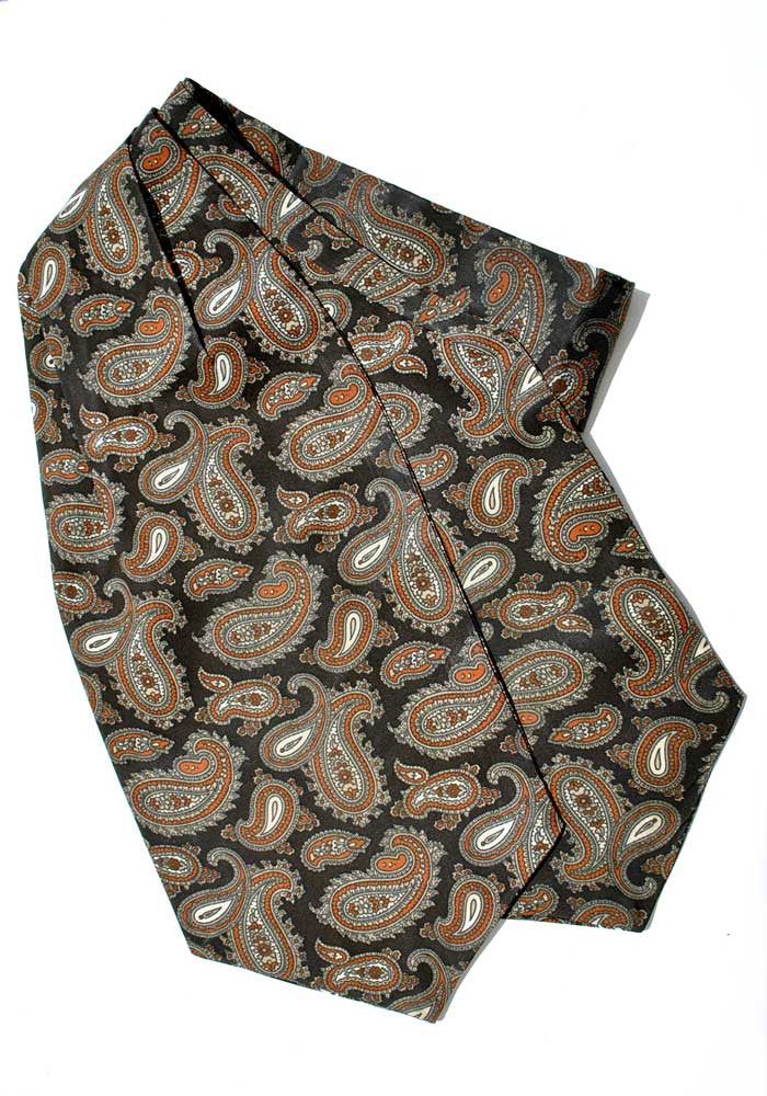 Vintage Black & Orange Paisley Tootal Cravat
