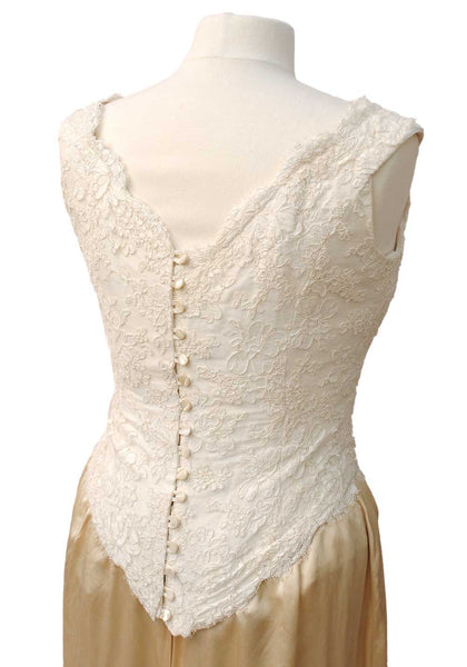 1990s Vintage Cream Lace Bustier Corset Top • Button Back fastening