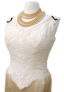 buy cream lacey fitted bodice for formal or bridal wear.