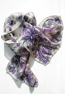 vintage purple floral and dove grey silk crepe scarf
