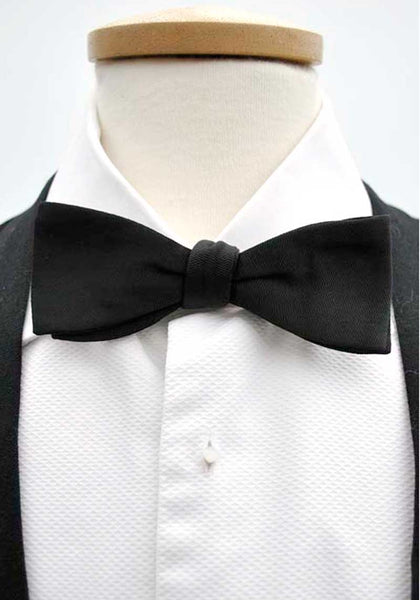 1940s Vintage Black Crossgrain Clip On Bow Tie