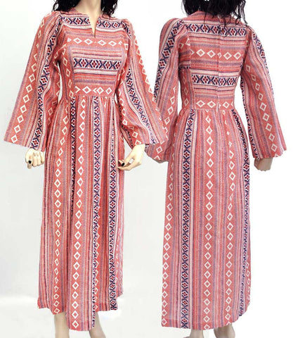 Vintage 70s Maxi Dress with Folk Art Print Pattern