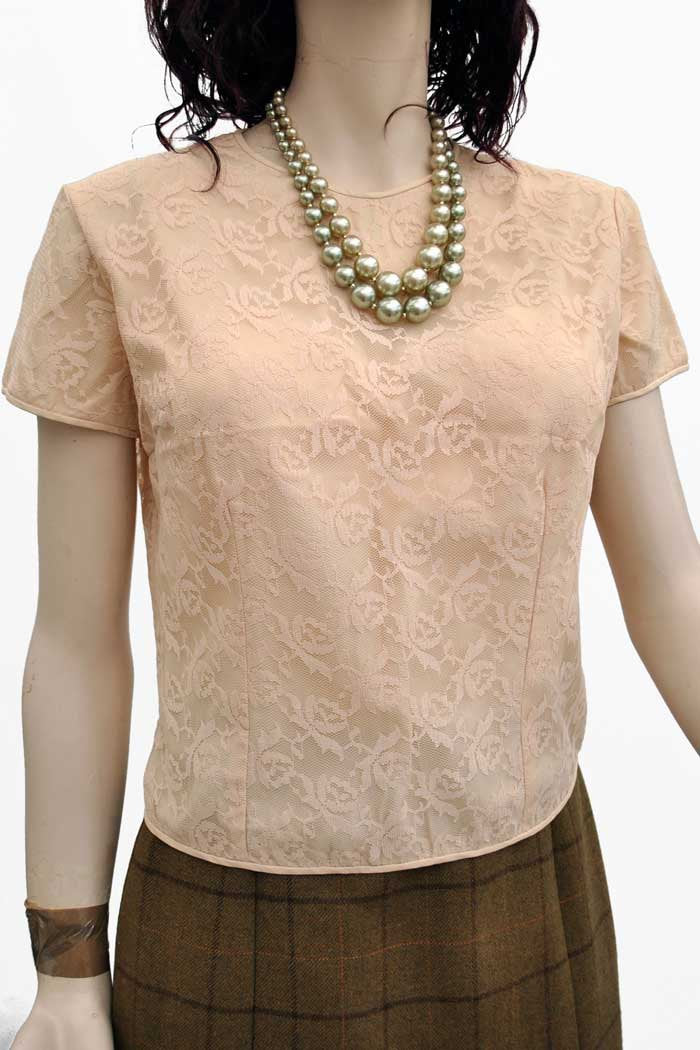 50s summer cream lace top by sybil claymar