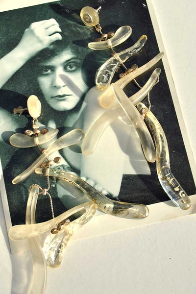 vintage artisan lucite musical dangle earrings