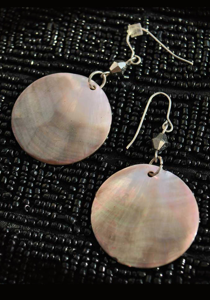 vintage dark mother of pearl disc dangle earrings