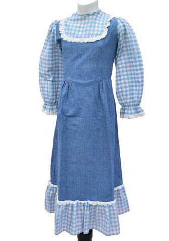 girls denim country dress with gingham
