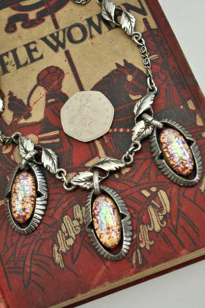 1940s Vintage Foil Opal Glass Pendant Necklace with Leaf Chain • Dragon's Eye