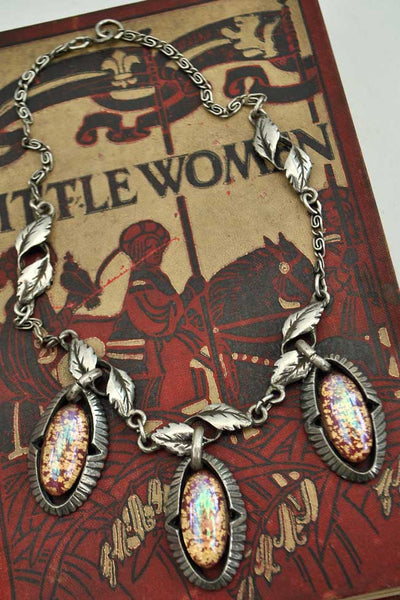 vintage 40s foil glass, fire opal pendant necklace