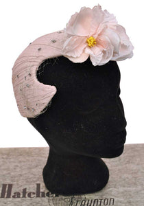 40s vintage dusky pink tea rose hat