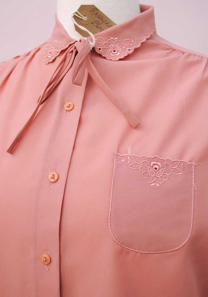 1970s Dusky Pink Long Sleeve Blouse • Secretary