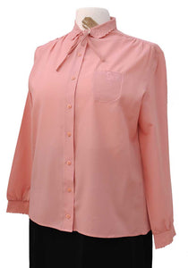 dusky pink 40s style officewear long sleeve blouse with embroidered cutaway collar and cuffs