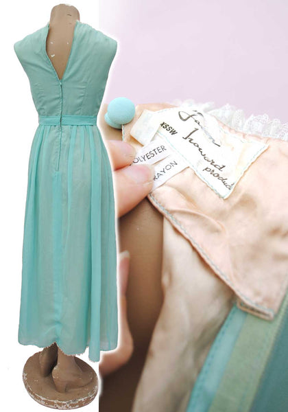 1960s Vintage Seafoam Green Chiffon Prom Dress • Evening Gown