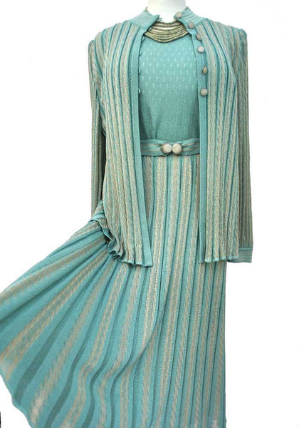 vintage seafoam green 30s style knit skirt set with jacket and deco belt