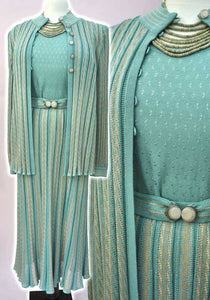 1970s Vintage 30s Vibe 3-Piece Knit Set • Seafoam Green Knitted Skirt Suit