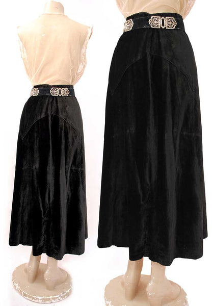 Antique Edwardian Black Velvet Skirt