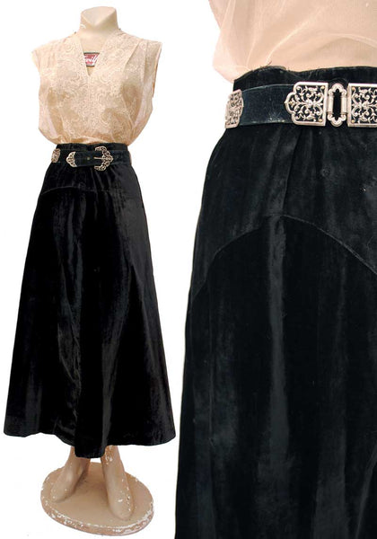 antique 1900s black silk velvet skirt