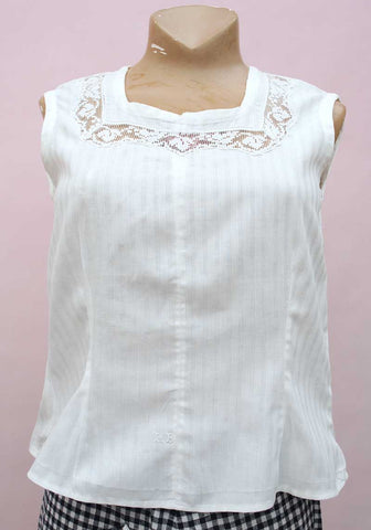 edwardian white linen chemise sleeveless top with embroidery monogrammed initials L.B. and crochet lace detailing.