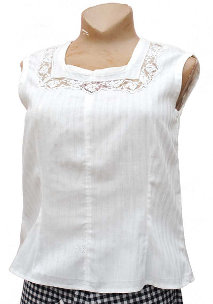 1910s Antique White Linen Chemise Top • Crochet Lace