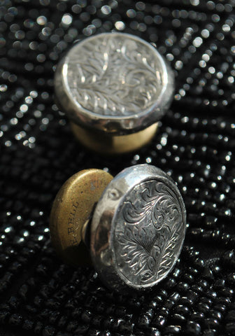 Antique Victorian Silver Engraved Snap Link Cufflinks