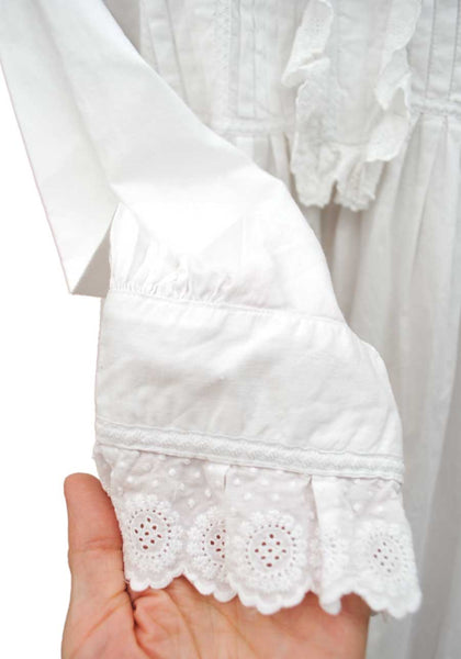 Antique Victorian White Linen Nightie With Frilly Front