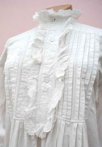 edwardian ruffle front white linen nightgown