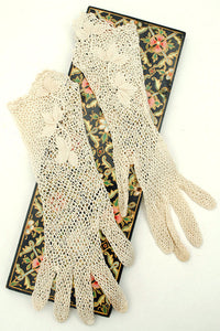 "Vintage Edwardian long crochet net ivory day gloves • 3"" Finger"