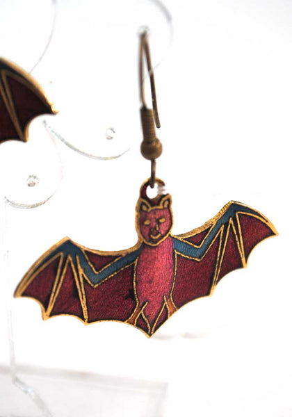 1970s Vintage Enamel Cloisonne Bat Earrings • Halloween • Dangle Earrings