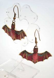 70s cloisonne bat earrings with outspread wings, goth halloween earrings depicting lucky bats.