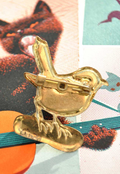 Vintage Enamel Tin Bird Brooch with Articulated Wing
