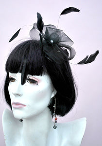 black feather fascinator