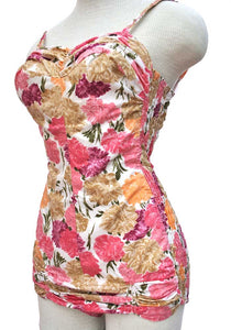 vintage 50 cotton floral swimsuit