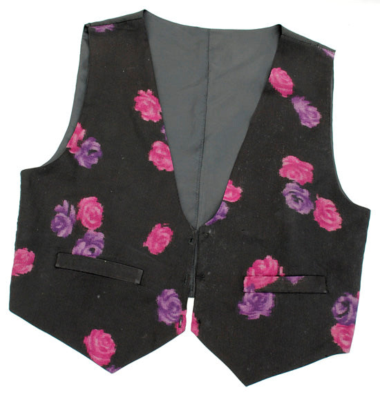1970s Vintage Waistcoat Black with Pink Flowers 42""