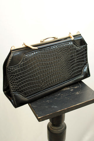 1950s Vintage Black Faux Crocodile Vinyl Handbag Metal Handle