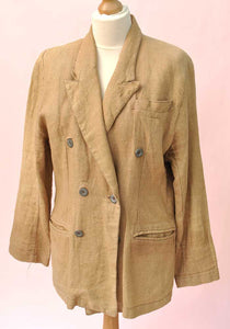 Women's Vintage 80s Linen Double Breasted Jacket • Beige • Girl's Club