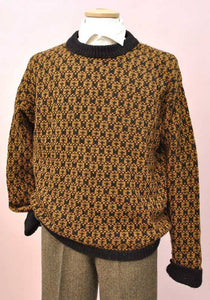 men's chunky knit mustard and black vintage jumper
