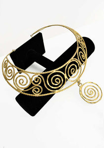 gold spiral collar necklace, statement choker necklace