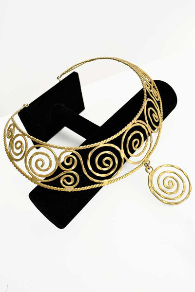 Goldtone Metal Spiral Collar Choker Necklace Egyptian Influenced