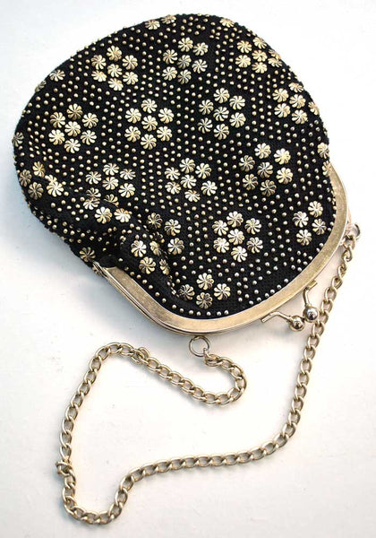 Vintage 60s Gold and Black Studded Evening Purse • Cilla