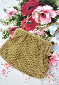 vintage 60s gold crochet purse