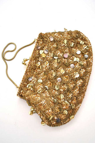 vintage 60s gold sequin purse
