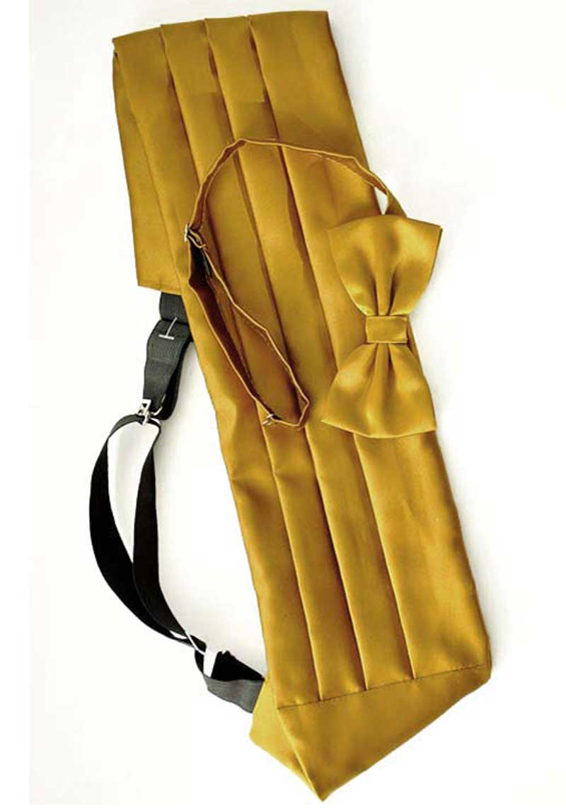 gold cummerbund with matching bow tie