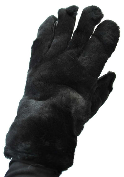 1960s Vintage Black Faux Fur Pleather Gloves