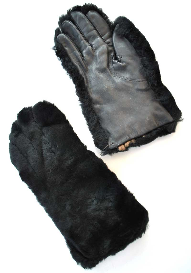vintage 30s style black faux fur winter gloves