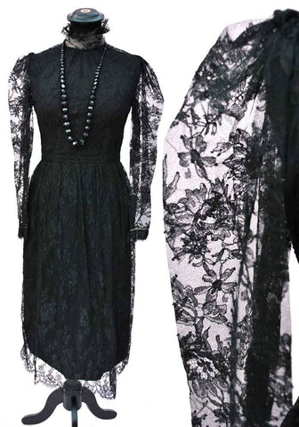 1960s black lace cocktail dress, glam goth