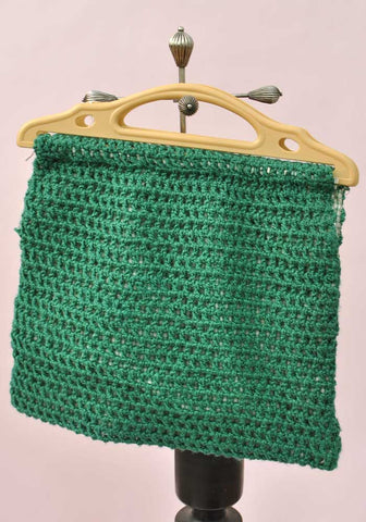 Vintage Green Crochet & Gingham Knitting Bag • Plastic handles